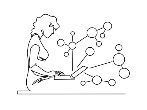 Woman chatting continuous one line vector drawing