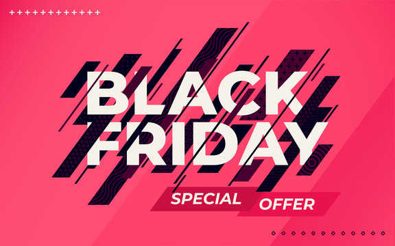 Black friday sale banner. Social media web banner for shopping, sale, product promotion. Template in a fashionable style. Dark blue dynamic lines on red background. Vector illustration