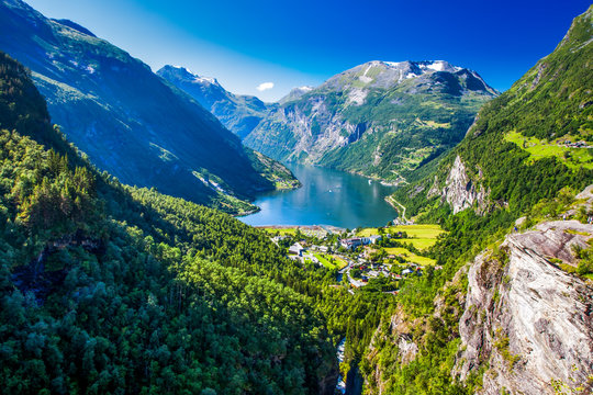View of Geirangerfjord in Norway, Europe.