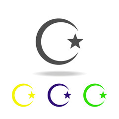 Islam Star and crescent sign multicolored icon. Detailed Islam Star and crescent icon can be used for web, logo, mobile app, UI, UX