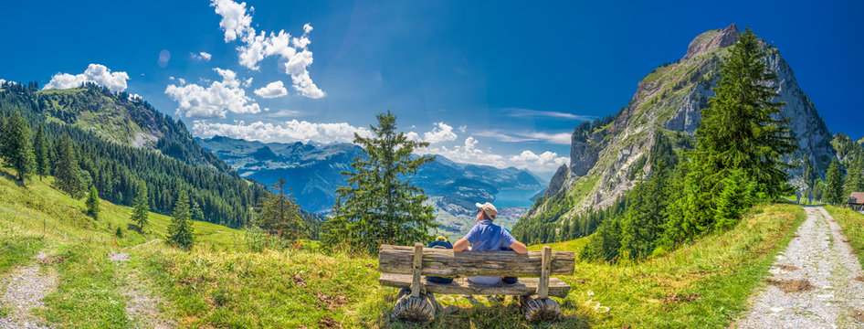 Beautiful summer landscape of Switzerland with Grosser Mythen mountain and green meadows, Ibergeregg, Switzerland, Europe