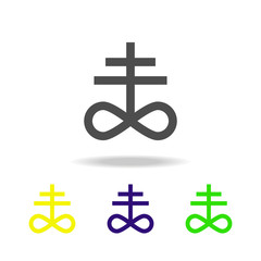 Satanism Leviathan cross sign multicolored icon. Detailed Satanism Leviathan cross icon can be used for web, logo, mobile app, UI, UX