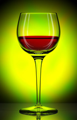 glass with red wine on green background, 3d illustration