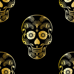 Vector seamless pattern of golden sugar skull with doodle floral elements on black background. Background for Mexican Day of the Dead