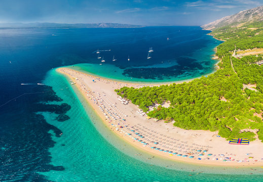 Famous Zlatni rat beach in Bol, Island Brac, Croatia, Europe