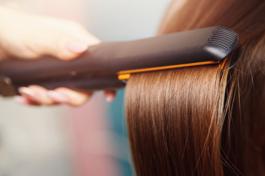 Hair iron straightening beauty care salon