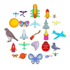 Fly icons set. Cartoon set of 25 fly vector icons for web isolated on white background