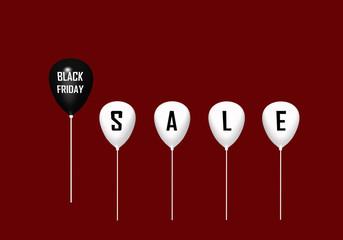 Schwarzer Luftballon mit dem Text black Friday und 4 weiße mit den Buchstaben Sale. 3d rendering