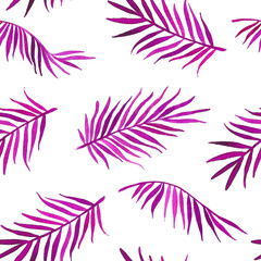 Watercolor seamless pattern with purple palm leaves