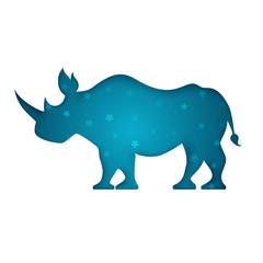 rhino paper cut white illustration. Vector eps 10