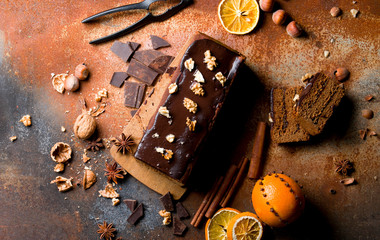 Traditional gingerbread cake.