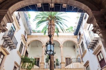Courtyard of the palace with beautiful architecture in Palermo