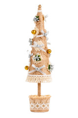 Christmas tree of twine and lace, handmade, isolated