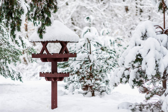 Winter wooden bird feeder close-up covered with snow, winter day in park