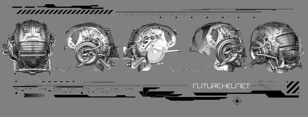 3D chrome futuristic helmets with graphics