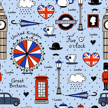London seamless vector pattern. Retro background with english elements and illustrations
