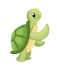 Happy cute turtle walking with smile. Cartoon character design. Flat vector illustration isolated on white background