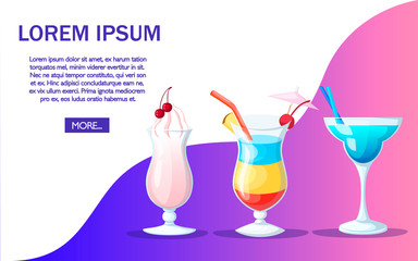 Cocktail drink fruit juice in flat design style. Website page and app design. Place for text. Vector illustration on color background