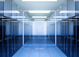 Network and internet communication technology in data center server room interior, 3D Rendering