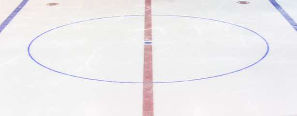 Fragment of ice hockey rink with a central circle. Concept, hockey