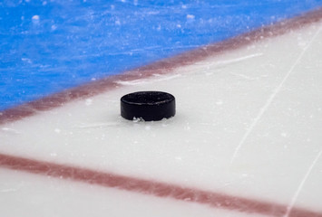 Hockey puck stand on side on goal line. Close view