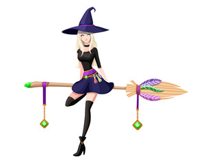 Cute blonde witch sit on flying broom. Witch purple hat and clothes. Cartoon character design. Beautiful women. Flat vector illustration isolated on white background