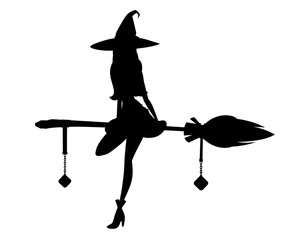 Black silhouette. Cute blonde witch sit on flying broom. Witch hat and clothes. Cartoon character design. Beautiful women. Flat vector illustration isolated on white background