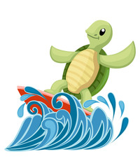 Happy cute turtle on surfboard. Turtle on water. Cartoon character design. Flat vector illustration isolated on white background with ocean or sea wave