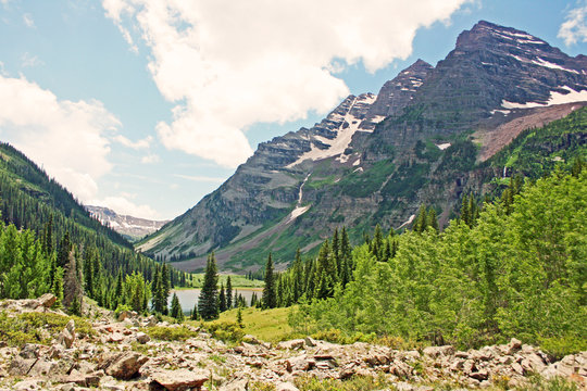 View at Maroon Bells from moraine, Colorado