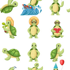 Collection of turtles cartoons characters. Little turtles do different things. Flat vector illustration on white background