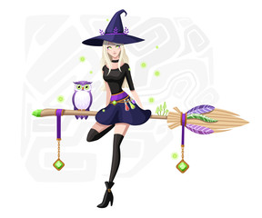 Cute blonde witch sit on flying broom. Purple owl on broomstick. Witch purple hat and clothes. Cartoon character design. Beautiful women. Flat vector illustration on background with fireflies