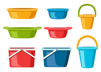 Collection of water containers. Water buckets and basins. plastic products mass market. Flat vector illustration isolated on white background