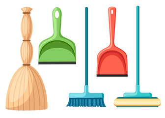 Collection of household cleaning utensil. Broom, mop, scoop. Flat vector illustration isolated on white background