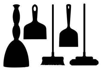 Black silhouette. Collection of household cleaning utensil. Broom, mop, scoop. Flat vector illustration isolated on white background