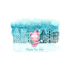 Happy New Year and Christmas illustration with winter watercolor old european houses, snow and funny pig on teal stain