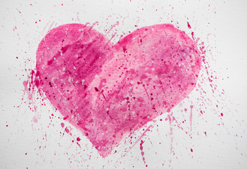 Heart shape background painted by brush on paper. Watercolor background with blots. Background with heart and blots. Heart shape background