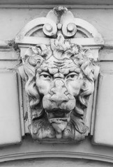 Bas-relief of lion's head on the wall
