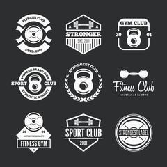 Set of fitness emblems, signs, labels, badges, logos and designed elements.