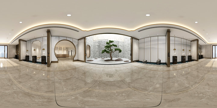 360 degrees house interior view. 3d render.