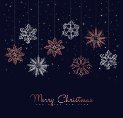 Merry Christmas copper snowflake greeting card