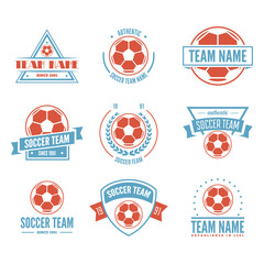 Set of Football or soccer Club Logo Set Vector Template Design