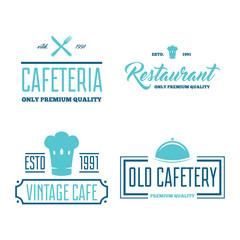 Restaurant Logos, Badges and Labels Design Elements set in vintage style