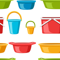 Seamless pattern. Collection of water containers. Water buckets and basins. plastic products mass market. Flat vector illustration on white background
