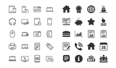 Mobile Device line icons. Set of Laptop, Tablet PC and Smartphone signs. HDD, SSD and Flash drives. Headphones, Printer and Mouse symbols. Mobile laptop device vector