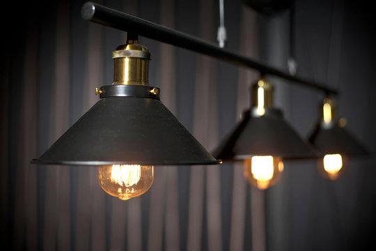 Line of industrial retro bulbs