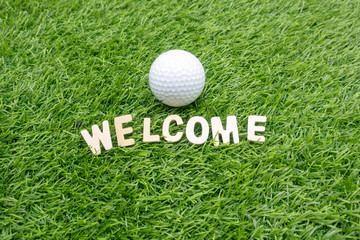 Golf ball  with welcome word on green grass