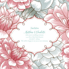 Wedding invitation with flowers of dahlias. Congratulations on your birthday, invitation card. Flower pattern. Element for printing, design, creativity, scrapbooking.