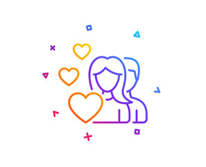 Couple Love line icon. Group of People sign. Valentines day symbol. Gradient line button. Couple icon design. Colorful geometric shapes. Vector