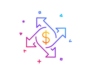 Payment exchange line icon. Dollar sign. Finance transfer symbol. Gradient line button. Payment exchange icon design. Colorful geometric shapes. Vector