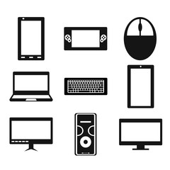 Set of popular gadgets like smartphone, portable game console, computer mouse, laptop, keyboard, tablet, monoblock PC, computer case, desktop PC. Vector illustration. Icons